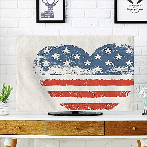 """L-QN tv dust Cover Patriotic American USA Flag Heart Shaped Stars and Stripes Antiqued Inspiratial Dust Resistant Television Protector W32 x H51 INCH/TV 55"""""""