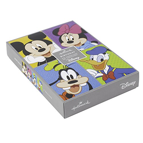 Hallmark Birthday Cards Assorted Boxed Set (Disney Characters Assortment, Pack of 12 Cards with - Card Birthday Mickey Mouse