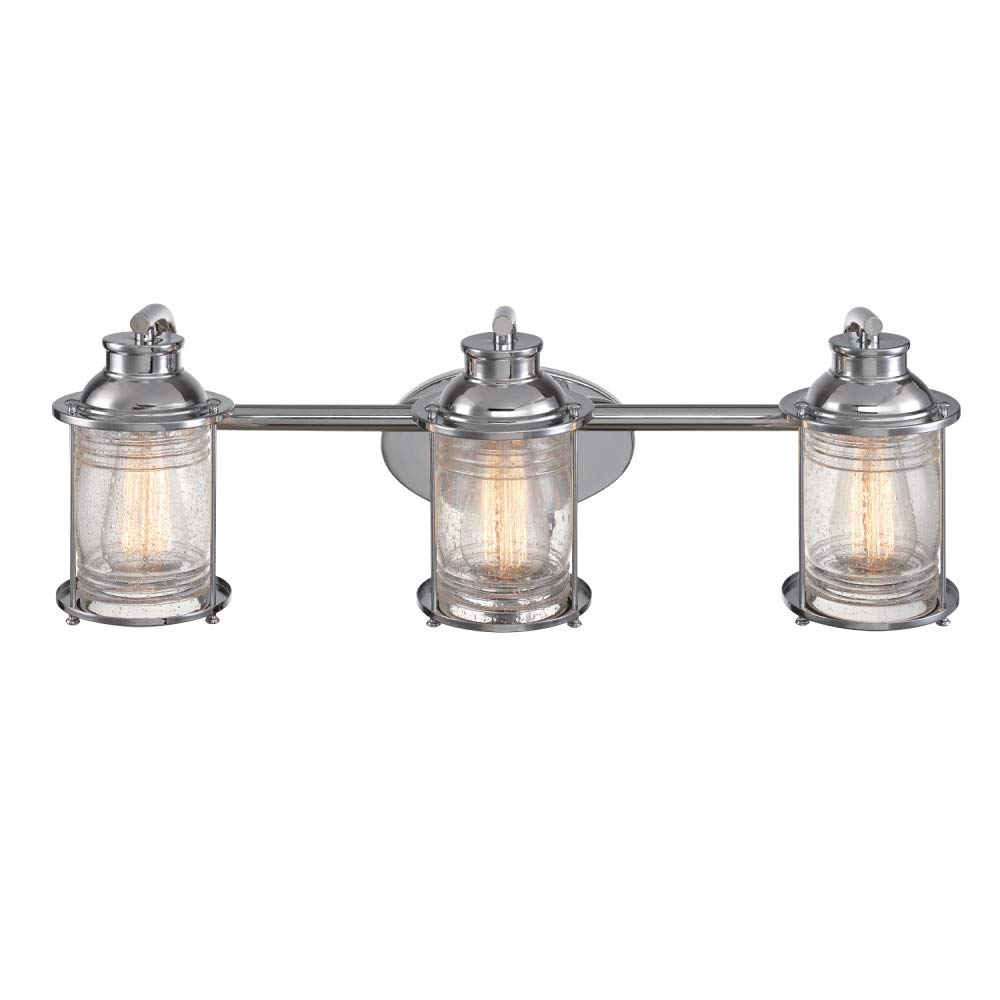 Globe Electric 51272 Bayfield 3-Light Vanity Light, Chrome, Ribbed Seeded Glass Shades by Globe Electric