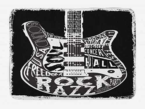 Retro Rock N/' Roll Bath Mat Guitar Bathroom Decor Rug Rock Music Lover Decor Kitchen Rug Memory Foam Rock Music Theme Door Mat