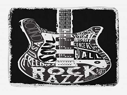 Lunarable Rock and Roll Bath Mat, Hard Rock Music Poster Print with Guitar Soul Blues Party Concert Print, Plush Bathroom Decor Mat with Non Slip Backing, 29.5