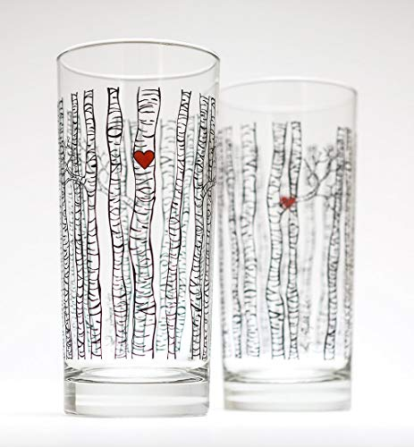 Birch Tree Glassware - Set of 2 Highball Glasses, Wedding Gift, Newlyweds
