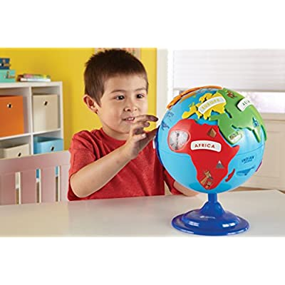 Learning Resources Puzzle Globe, 3D Geography Puzzle, Fine Motor, 14 Pieces, Ages 3+: Toys & Games