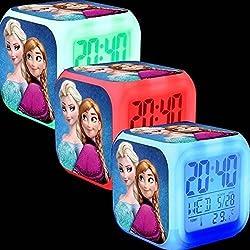 Frozen Elsa And Anna 7 Color Changing Led Digital Alarm Clocks For Kids