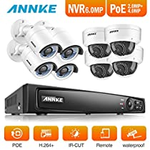 ANNKE HD 4-Megapixel 8Ch Network POE NVR Security System and (4) 4MP Outdoor Bullet IP Cameras (4) 2MP Outdoor Dome Cameras, 100ft Night Vision, Power over Ethernet, NO HDD
