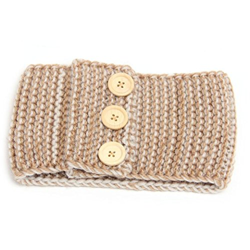 [Womail HOT Winter Women Ear Warmer Three Buttons Headband Knit Hairband (Khaki)] (50s Wig)