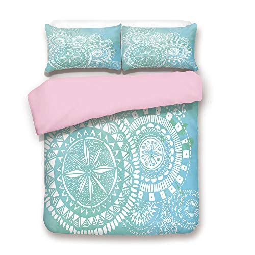 Pink Duvet Cover Set,King Size,Watercolor Brush Strokes with White Hand Drawn Mandala Round Indian Doodle,Decorative 3 Piece Bedding Set with 2 Pillow Sham,Best Gift For Girls Women,Light Blue White -
