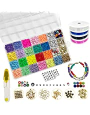 4000 PCS Clay Beads for Bracelets Making, 6mm 21 Colors Flat Round Polymer Clay Spacer Beads Jewelry Making Set with Pendant Charms Kit and 4 Roll Elastic Strings