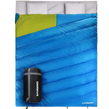 FUNDANGO Sleeping Bag Double 2 Person Sleeping Bags for Adults Cold Weather Extreme 0 Degree Lightweight Compact Waterproof for Camping Backpacking Hiking Oversize XL with Compression Sack 2 Pillows