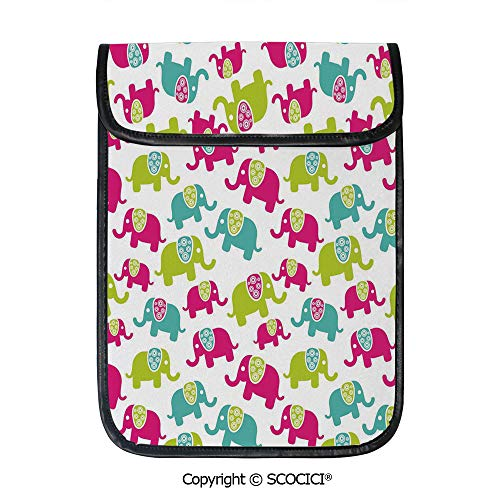 SCOCICI Protective Storage Carrying Sleeve Case - Cartoon Cute Elephants with Ornaments Joyous Kids Room Pattern Decorative Compatible with 12.9 Inch iPad Pro Tablet ()