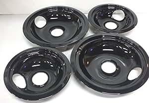 DB4para GE gama cuencos de porcelana negro cacerolas de goteo 4Pk 2ea
