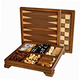 WE Games Walnut 7-Games-in-1 Combination Game Set - Includes Chess, Checkers, Backgammon, Dominoes, Cribbage, Poker, Dice and Cards