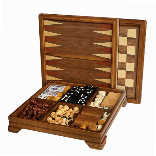 mes-in-1 Combination Game Set - Includes Chess, Checkers, Backgammon, Dominoes, Cribbage, Poker, Dice and Cards (Executive Travel Chess)