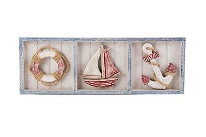 Cuadros en relieve, 58 x 20 x 3, diseño marinero de madera, diseño