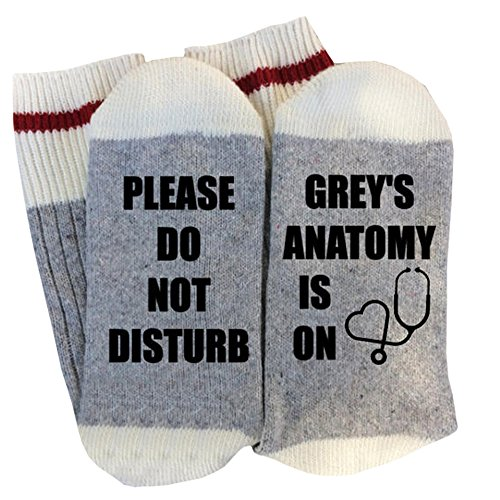 Amkun Women Men Do Not Disturb Fun Socks Winter Funny Novelty Cute Cotton Crew Hosiery with Saying (Gray)