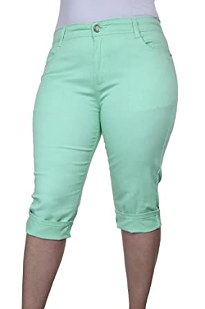 1442-2) Plus Size Stretch 3/4 Cropped Capri Jeans Mint Green at ...