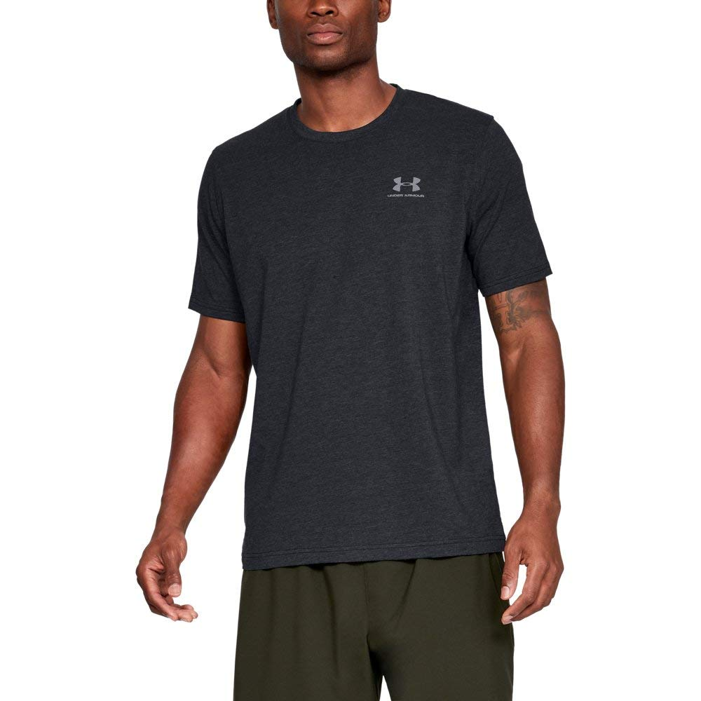 Under Armour Men's Charged Cotton Left Chest Lockup T-Shirt, Black /Steel, Small by Under Armour (Image #1)