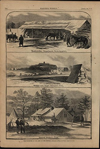 Army of the Potomac Headquarters Negro Servants Tent 1863 antique engraved print
