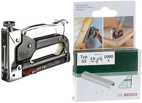 Bosch 0 603 038 001 - Grapadora manual HT 14 - - - 0603038001 (pack de 1) + 2 609 255 823 - Grapa o 53 (pack de 1000): Amazon.es: Bricolaje y herramientas