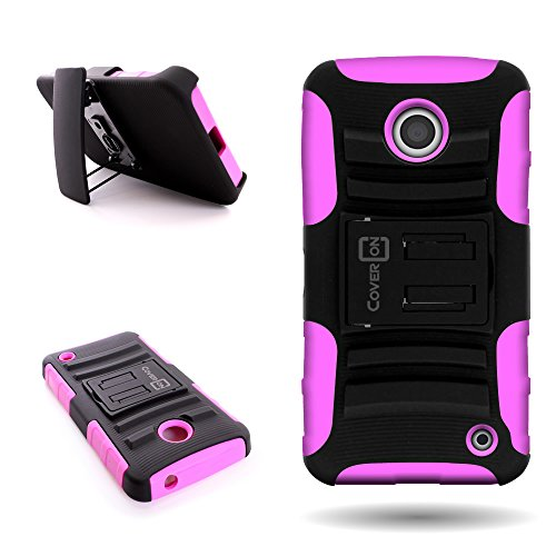 Nokia Lumia 635 Holster Phone Case with Belt Clip (Hot Pink / Black) | CoverON (Explorer) Hybrid Combo Kickstand Series | Protective Dual Layer Impact Armor Cover for Nokia Lumia - Case Shipping 635 Nokia Free