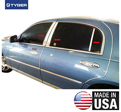 Made in USA! Works with 1998-2011 Lincoln Town Car 6PC Stainless Steel Chrome Pillar Post Trim ()