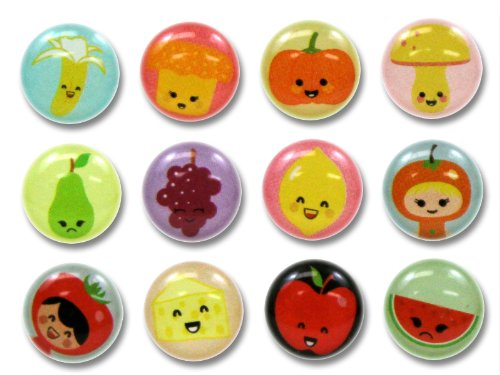 3D Semi-circular Colorful Fun Lively Fruits and Vegetables Banana Pumpkin Mushroom Pear Grapes Lemon Apple Tomato Cheese Watermelon 12 Pieces Bubble Home Button Stickers for iPhone 5 4/4s 3GS 3G, iPad 2, iPad Mini, iTouch