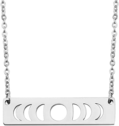 Moon Phases Bar Sterling Silver 925 Necklace