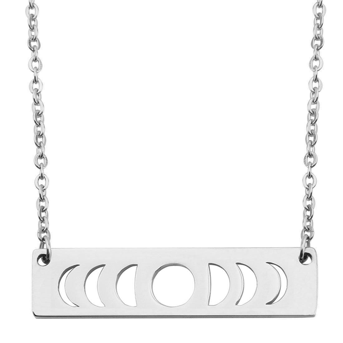 KUIYAI Moon Phase Necklace Bar Pendant Triple Goddess Jewelry (Silver)