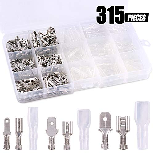 Swpeet 315Pcs 2.8/4.8/6.3mm Male Female Spade Connectors Wire Crimp Terminal Block with Insulating Sleeve Assortment Kit Perfect for Electrical Wiring Car Audio Speaker