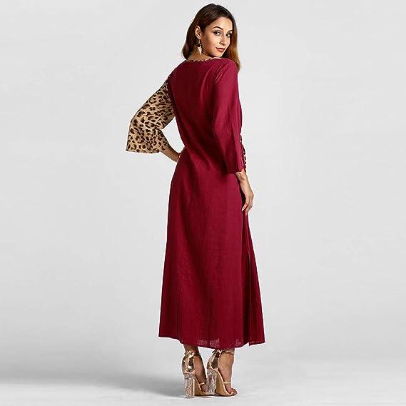 ... Maxi del Partido Largo Largo de la Manga del Estampado Leopardo de la Manera de Las Mujeres Musulmanas del Vestido Outwear: Amazon.es: Ropa y accesorios