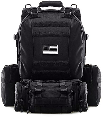 Tactical Backpack Military Outdoor 3-day Assault Pack 60L Survival Rucksack 1000D Army Molle Bug Out Bag Perfect for Hiking Trekking Travelling and Hunting