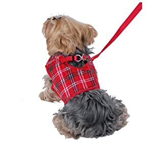 Anima Plaid Jersey Dog Vest Harness, X-Small, Red