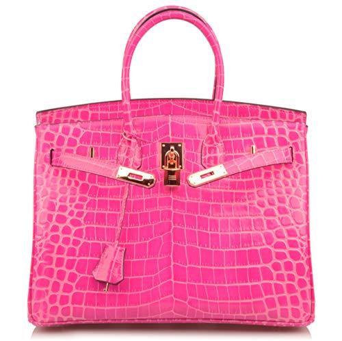 Qidell Women's Padlock Patent Leather Crocodile Embossed Handbag On Clearance (35 cm.Hot pink) ()