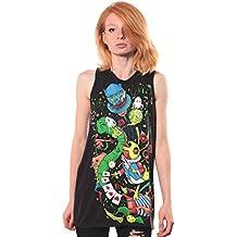 Street Habit Women's Alice in Wonderland Psychedelic Cotton Tunic Top - Exclusive Artwork