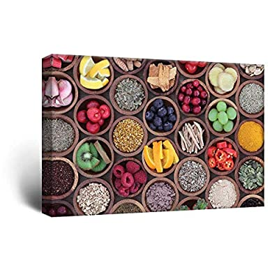 Canvas Wall Art - Colorful Fruits and Seasonings in Bamboo Bowls - Giclee Print Gallery Wrap Modern Home Art Ready to Hang - 24x36 inches