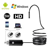 JOYSA HD 2 in 1 Rigid Endoscope,8MM 5 Meter Professional Waterproof USB Borescope Camera 2.0 Megapixels CMOS Camera For Tablet PC Andorid OTG and UVC function Snake Camera with 6 Led Lights