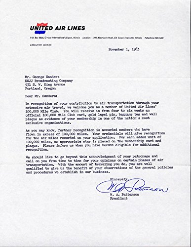 William A. Patterson Typed Letter Signed 11/01/1963
