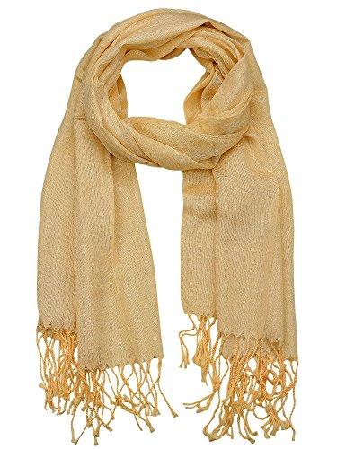 Braided Tassel Gold (NYFASHION101 Women's Sheer Metallic Braided Tassel Ends Scarf Shawl Wrap, Gold)