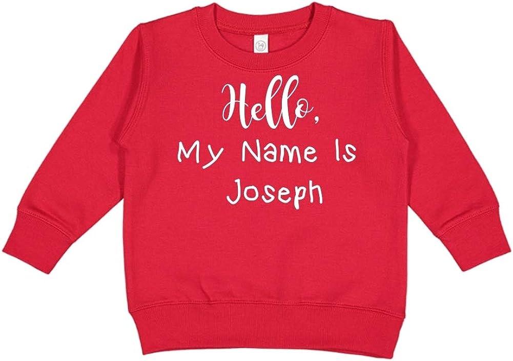 Personalized Name Toddler//Kids Sweatshirt Mashed Clothing Hello My Name is Joseph