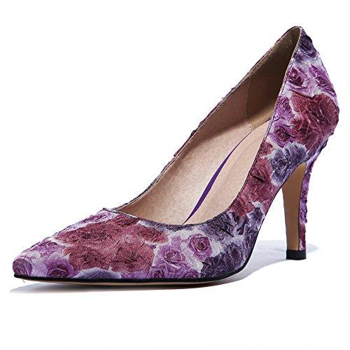 17dd5a0d84073 Minivog Fleurs Florales À Talons Hauts Femmes Robe Pompes Chaussures Rouge  Rose