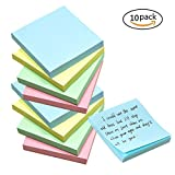 Self Stick Notes Sticky Notes 10 Packs 100 Sheets 3 inch X 3 inch Easy Post Individually Wrapped Notes for Home,Kitchen,Office,Domitory,School,Desktop