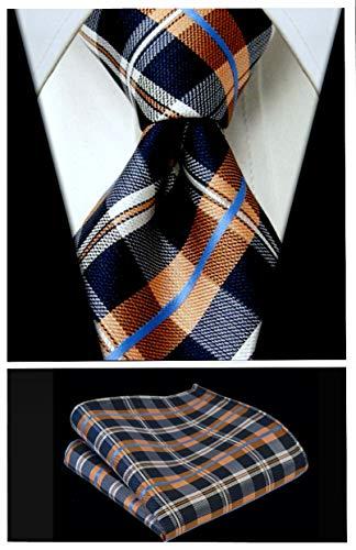 Plaid Stripe Ties for Men - Woven Necktie & Pocket Square - Navy Blue w/Orange