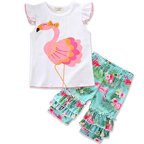 Frogwill Little Girls 2 Pieces Playwear Set with Bow and Applique (5T, Flamingo)