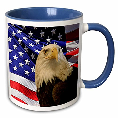3dRose 21650_6 Bald Eagle And American Flag - Two Tone Blue Mug, 11 oz, Multicolored