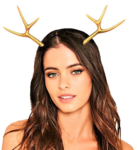 JeVenis Luxury Reindeer Antler Headband Gold Deer Headband Festival Wear Party Hats (One Size, Gold) ()