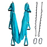 Wellsem Flying Aerial Yoga Hammock Yoga Inversion Sling Trapeze for Body Building Workout Fitness with Daisy Chain&carabiners(5 Colors Choice) (Sky Blue)