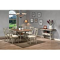 Baxton Studio Balmoral Chic Country Cottage Antique Oak Wood and Distressed Light Grey 8-Piece Dining Set with 40-inch Extendable Dining Table