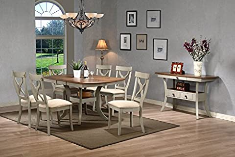 Baxton Studio Balmoral Chic Country Cottage Antique Oak Wood and Distressed Light Grey 8-Piece Dining Set with 40-inch Extendable Dining - Extendable Dining Table Set