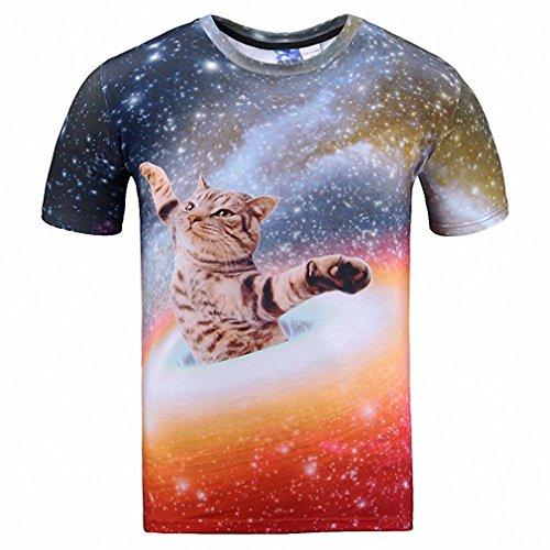Baby Johnny Cash Costume (Cats T-shirt Men/Women 3d Print Meow Star Cat Hip Hop Cartoon TShirts Summer Tops Tees Fashion 3d shirts Asian M)