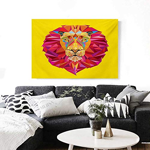 Zoo Canvas Print Wall Art Colorful African Animals Geometric Diamond Face Lions Mane Safari Wildlife Theme Image Artwork for Wall Decor 20